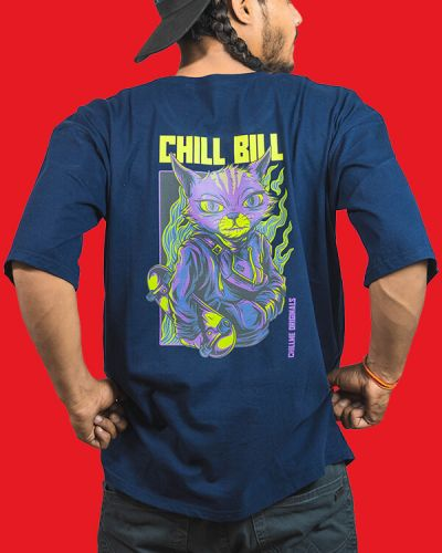 Hip Hop T-shirts Chill Bill Baggy Fit Hip Hop T-shirt Blue