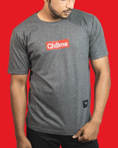 Regular Fit Tshirts Chillme Logo T-shirt Grey