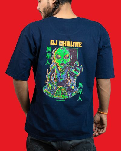 Hip Hop T-shirts DJ Chillme Baggy Fit T-shirt Blue