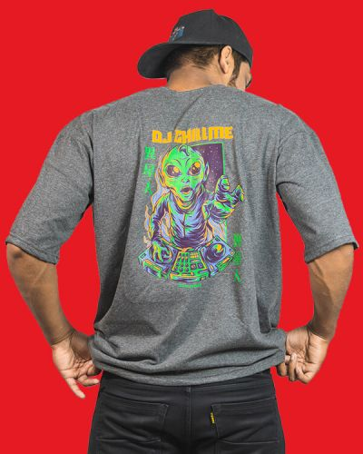 Hip Hop T-shirts DJ Chillme Baggy Fit T-shirt Grey
