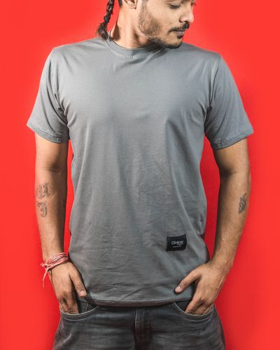 Regular Fit Tshirts Solid Round Neck Tshirt Grey